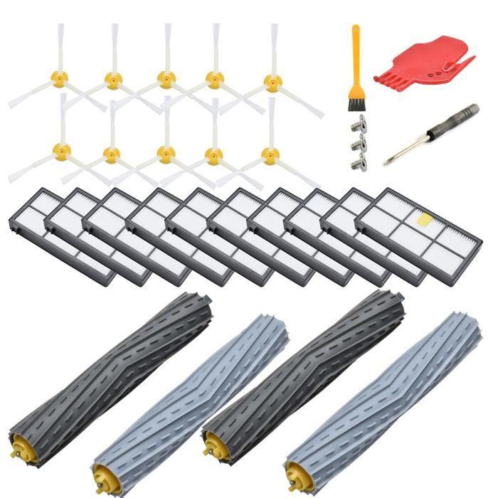 Kit D'accessoires Remplacement Pour Irobot Roomba SÉRie 850 850 860 861 866 870 880 890 890 900 980 980,10, 10 Brosses LatÉRales, 2