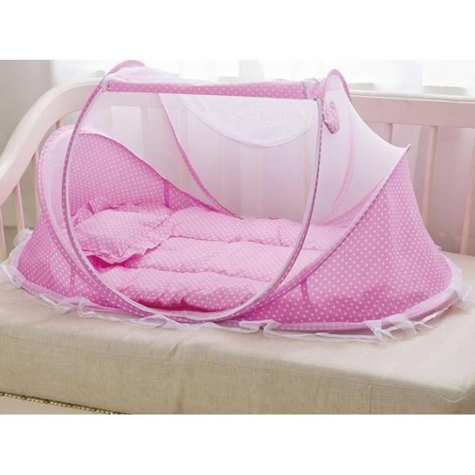Lit de voyage pour b/éb/é Moustiquaire portable pliable avec oreiller