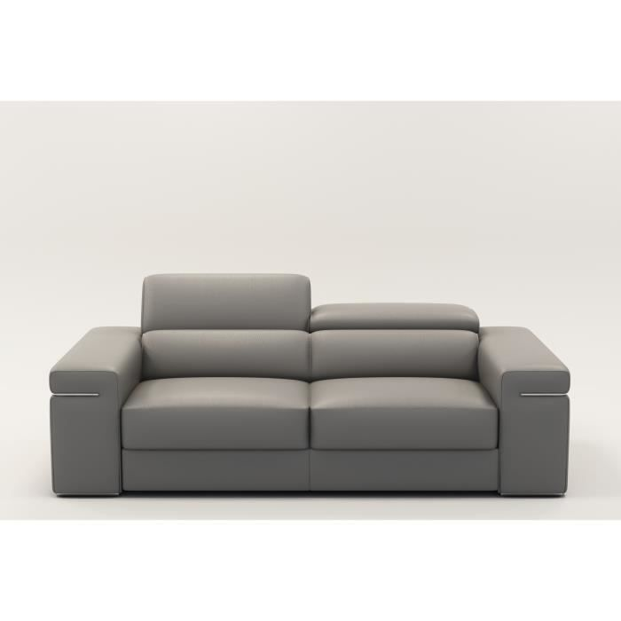 canape 2 places en cuir gris billy achat vente canap sofa divan cdiscount. Black Bedroom Furniture Sets. Home Design Ideas