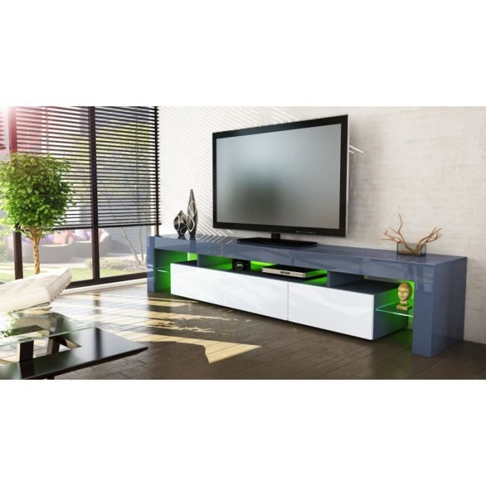meuble tv gris et blanc 189 cm avec led achat vente meuble tv meuble tv gris et blanc 189. Black Bedroom Furniture Sets. Home Design Ideas