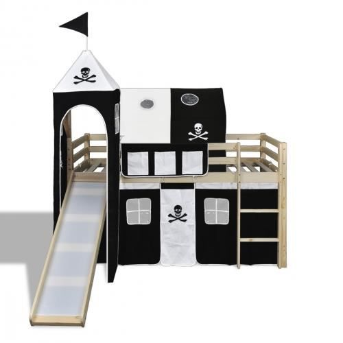 lit enfant mezzanine chelle toboggan pirate bois achat. Black Bedroom Furniture Sets. Home Design Ideas