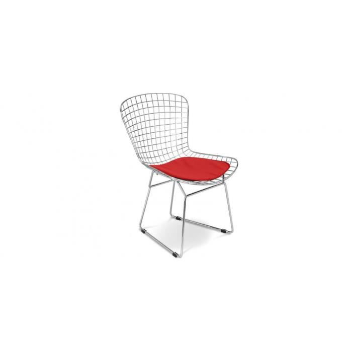 chaise wire inspir harry bertoia pu achat vente chaise rouge cdiscount. Black Bedroom Furniture Sets. Home Design Ideas