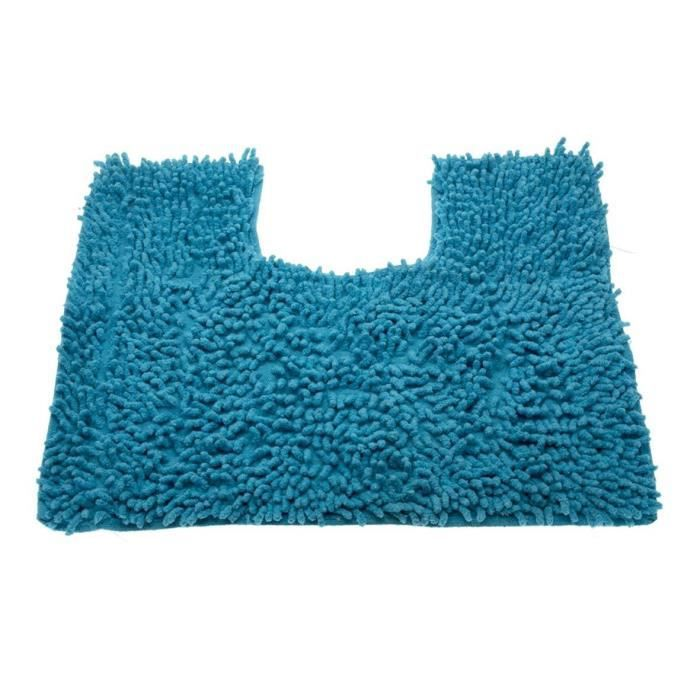 tapis contour wc chenille bleu achat vente tapis de. Black Bedroom Furniture Sets. Home Design Ideas