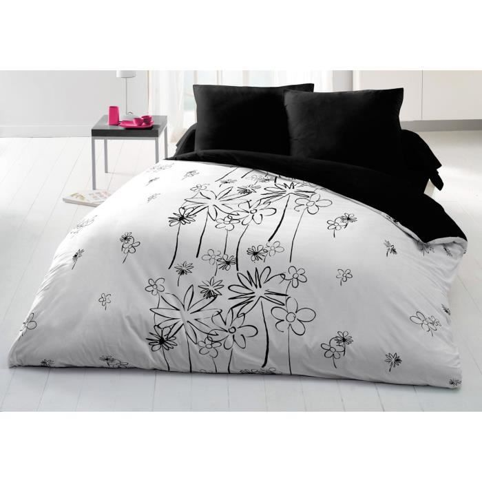 couette imprim e microfibre 220x240 cm blakc white. Black Bedroom Furniture Sets. Home Design Ideas