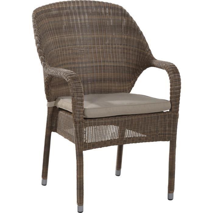 Chaise de jardin en résine tressée coloris taupe - Achat ...