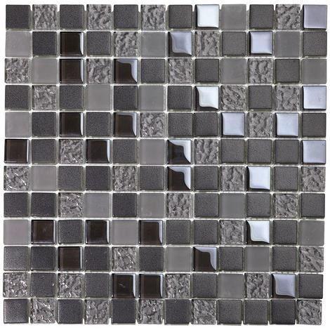 Mosaique En Verre Carreaux Gris Irise Depoli Noir Filet Carrelage