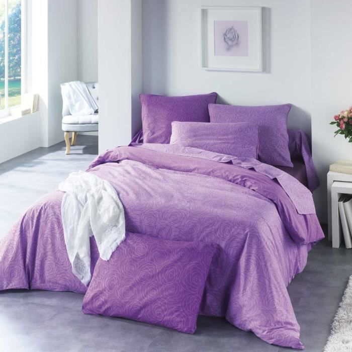 housse de couette 200x200 2 taies victoria violet achat vente parure de couette cdiscount. Black Bedroom Furniture Sets. Home Design Ideas