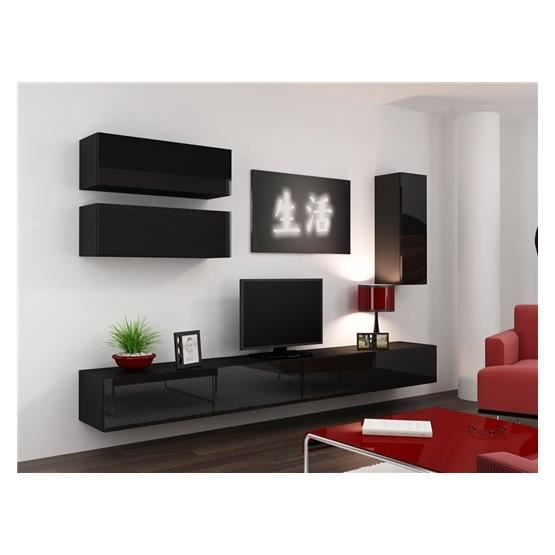 meuble tv design suspendu fino noir achat vente meuble tv meuble tv design suspendu f. Black Bedroom Furniture Sets. Home Design Ideas