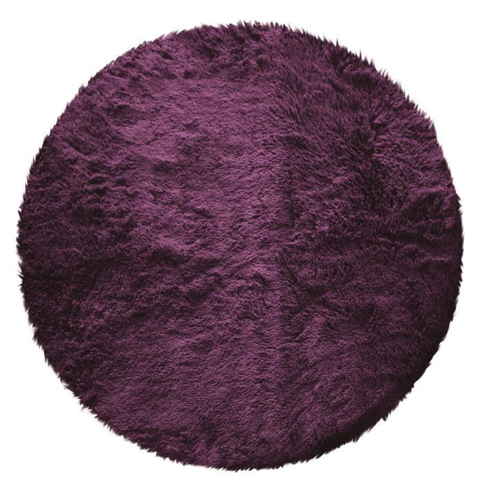 tapis rond poils longs 90cm marmotte aubergine achat vente tapis cdiscount. Black Bedroom Furniture Sets. Home Design Ideas