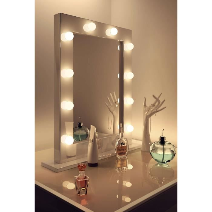 miroir de maquillage hollywood brillant blanc lampes del blanches froides k113cw ampoules del. Black Bedroom Furniture Sets. Home Design Ideas