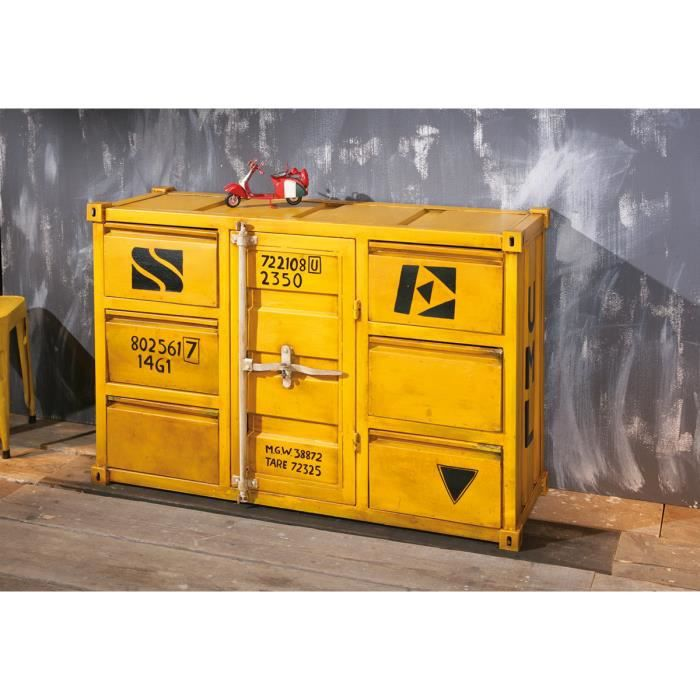 Miliboo commode industrielle m tal jaune cargo achat for Meuble jaune