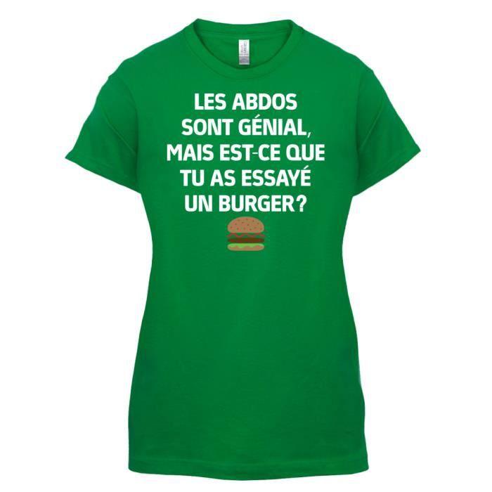 T-SHIRT Les Abdos Sont Génial - Burger - Femme T-Shirt - V