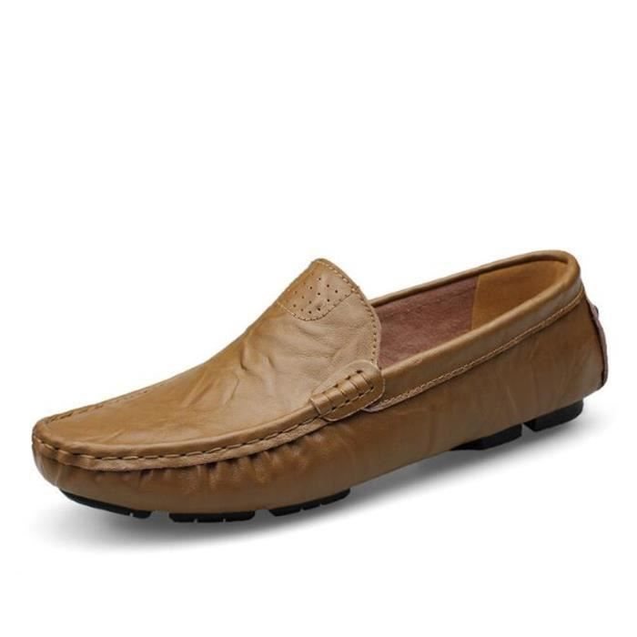Mocassin Hommes Mode Chaussures Grande Taille Chaussures TYS-XZ73Marron44