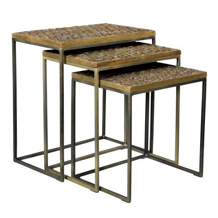 TABLE BASSE Tables basses gigognes carrées Akshaya (lot de 3)