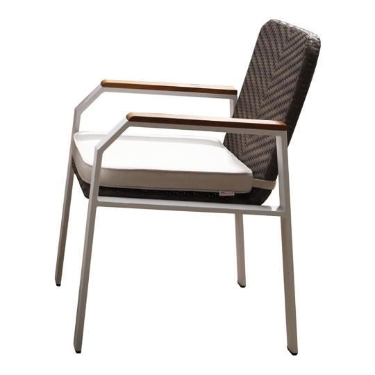 chaise de jardin aluminium et teck blanc design achat vente chaise fauteuil jardin chaise. Black Bedroom Furniture Sets. Home Design Ideas
