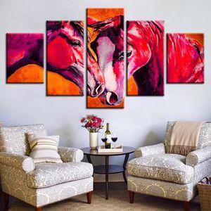 5 Pièces Marron Amoureux Chevaux Peinture Abstraite