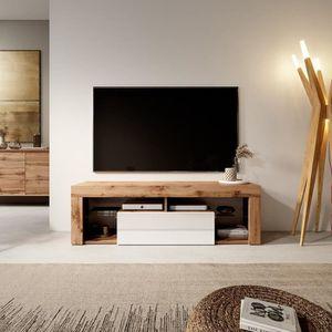 MEUBLE TV Meuble TV / Banc TV - BIANKO - 140 cm - chêne lanc