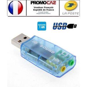 CARTE SON EXTERNE Carte son externe USB DSP 5.1 (Mono Canal) Bleu