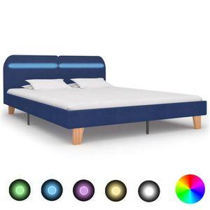 STRUCTURE DE LIT Cadre de lit design Moderne avec LED Bleu Tissu 18
