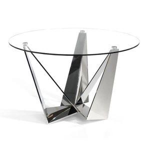 TABLE À MANGER SEULE Table de repas ronde Verre/Inox - NOGU - L 130 x l