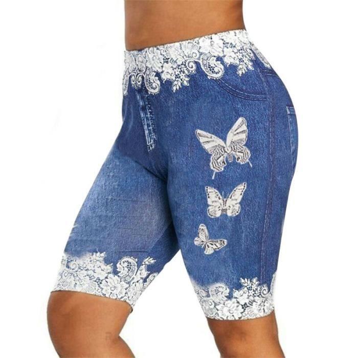 Leggings d'été pour femmes taille basse skinny imprimé de yoga-gym - Bleu clair L