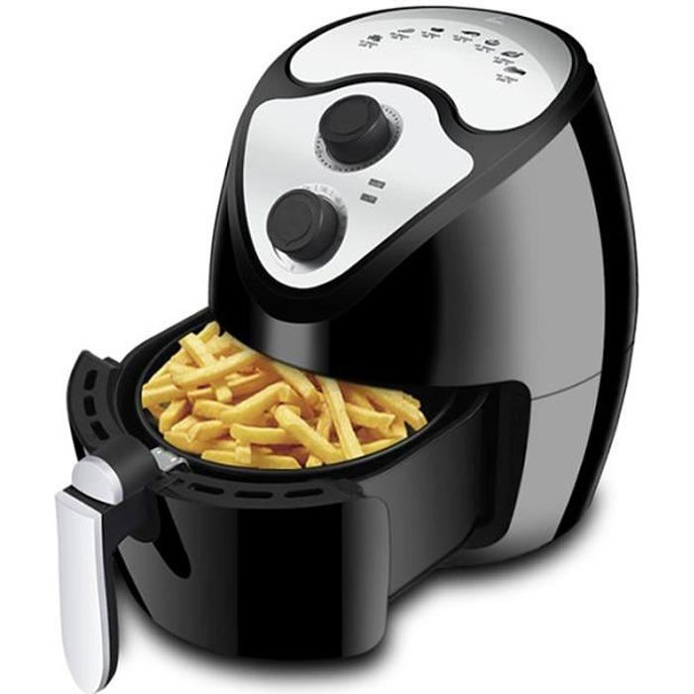 Friteuse à air chaud avec Panier Amovible Friteuse électrique sans Huile Température Réglable Cuisine Automatique Noir
