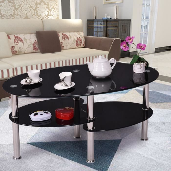 Table basse Noir, verre trempé avec design contemporain