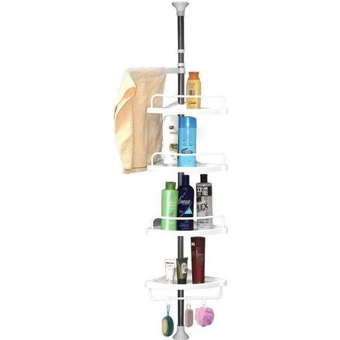 Etagère de Douche Télescopique en Acier Inoxydable Shampooing Savon Porte Salle de Bain d'Angle à 4 étages (95cm -300cm)