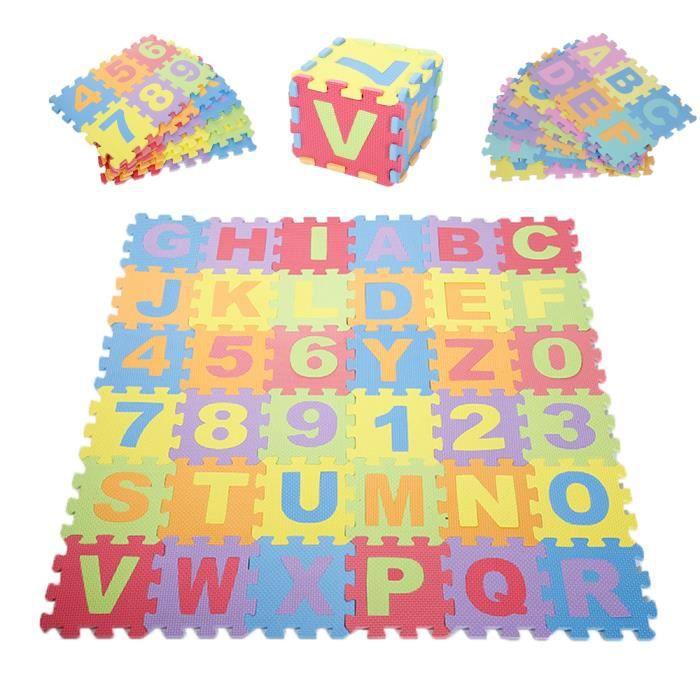 Puzzle tapis mousse 36*2 pcs 16*16 cm Jeu éducatif Enfants de développement doux tapis, bébé jouer puzzle nombre/lettre tapis
