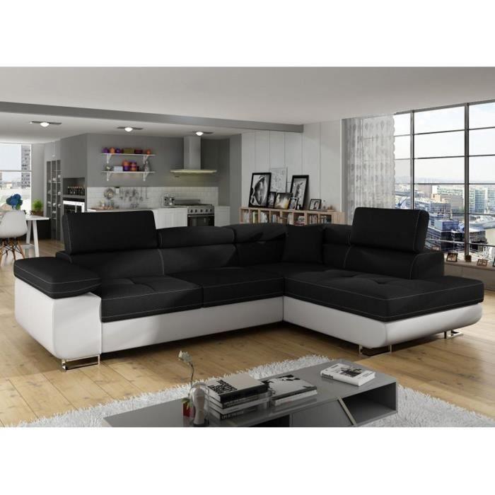 AUBIN - Canapé D'angle Convertible Noir Et Blanc Coffre De Rangement - Angle Droit