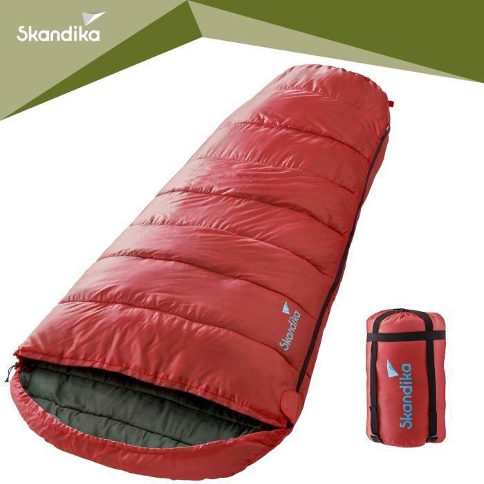 skandika Vegas - Sac de couchage sarcophage rouge - zip à droite