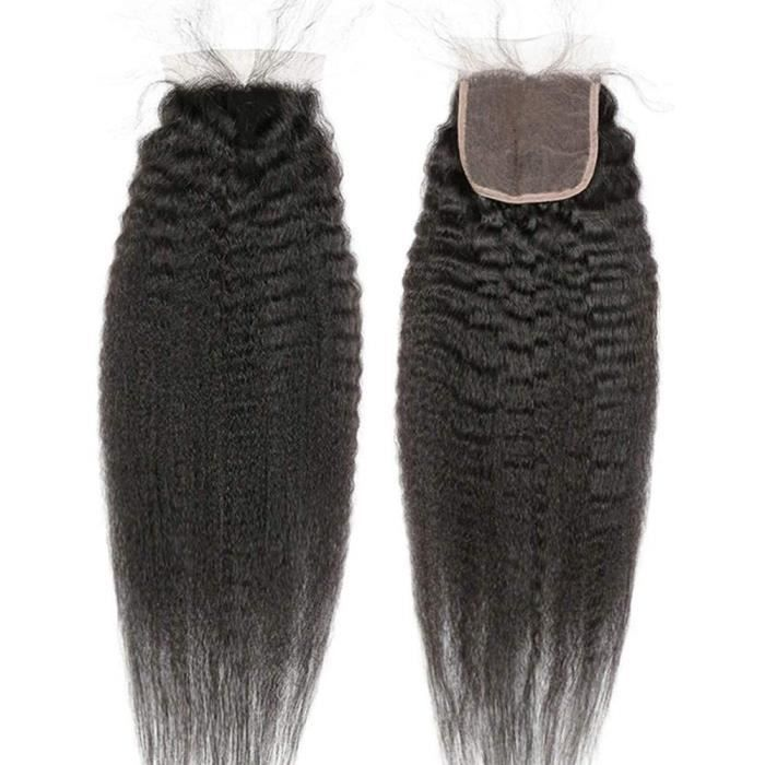 Extensions de cheveux BLISSHAIR Closure Meche Bresilienne Frontal Yaki Kinky Afro Naturelle 4- X 4- (10-) 314507