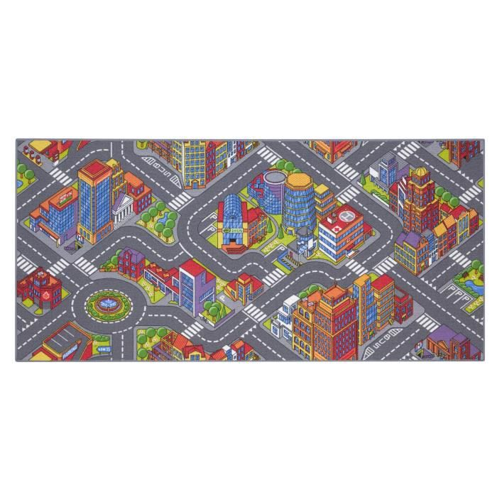 Tapis de Jeu Enfant 95x200cm, Big City - Tapis Circuit Voiture - Lavable - Antidérapant - Carpet Studio