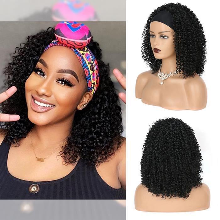 # 1B -Perruque à bandeau synthétique pour femmes afro américaines, perruque Afro crépue bouclée avec écharpe, en Fiber résistante à
