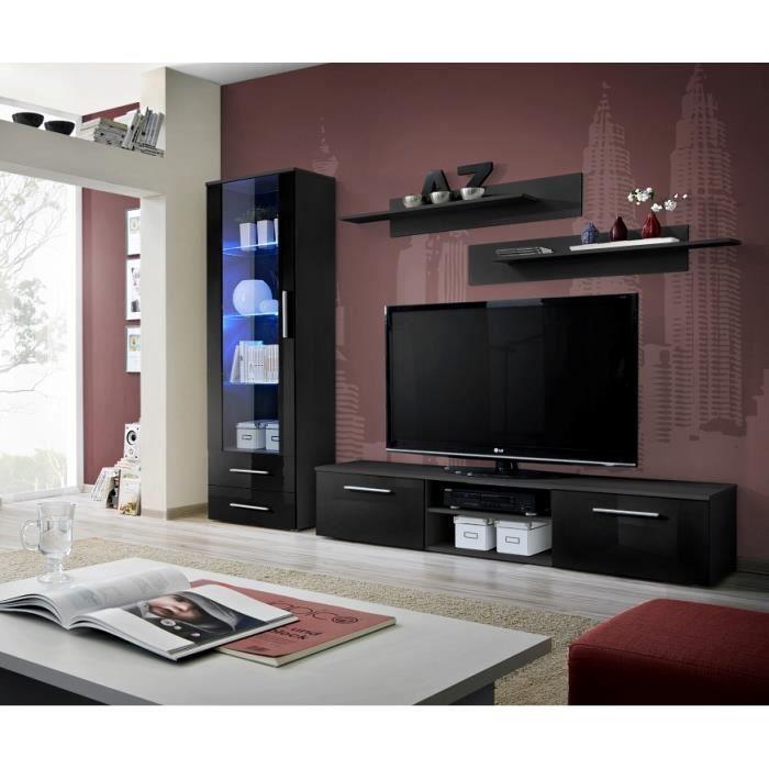 PRICE FACTORY - Meuble TV GALINO A design, coloris noir brillant. Meuble moderne et tendance pour votre salon.