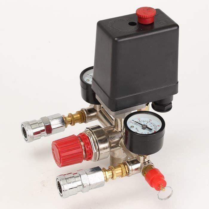 Compresseur D 'Air Pressostat Pompe + Valve Régulation Pression Contrôle Jauge @WPD