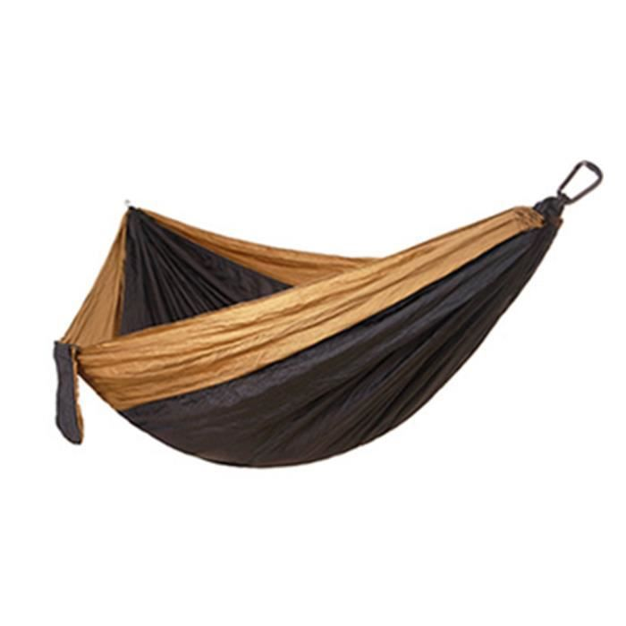 Lit de sommeil de survie de voyage de voyage de randonnée adulte adulte de hamac simple double Chameau noir 270 * 140