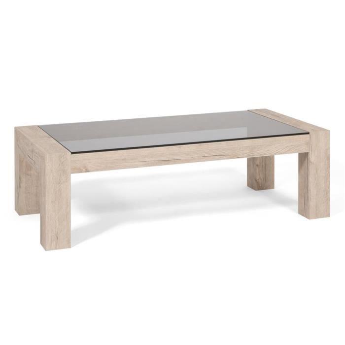 Mobili Fiver, Table basse, plateau en verre trempé, Iacopo, Chêne naturel, Mélaminé/Verre, Made in Italy