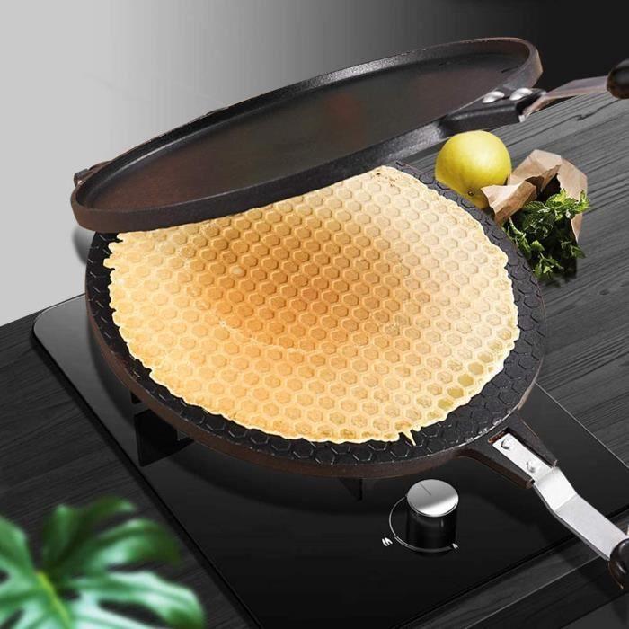 GAUFRIER Gaufrier gaufrettes fines Gaufrier cocircne paneur en alliage daluminium gaz antiadheacutesif gacircteau plaque de cuis65
