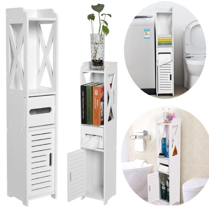Jidelstore® Etagère de rangement de Salle de Bains Armoire Toilette Blanc en Plaque Bois et Plastique 80x15.5x15 cm pour Rangement