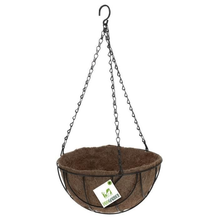 Panier coco à suspendre métal D25cm - Avec chaines et crochet