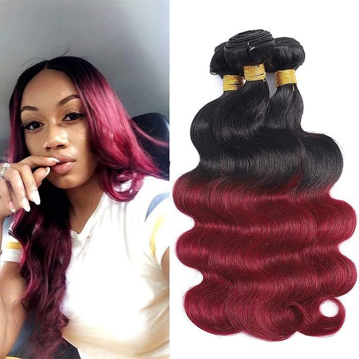 Perruques Perruques Tissage Bresilien en Lot Cheveux Naturel Ombre Hair Bundle Grade 7A Couleur Bordeaux 1B 99J Cheveux Ondul 642