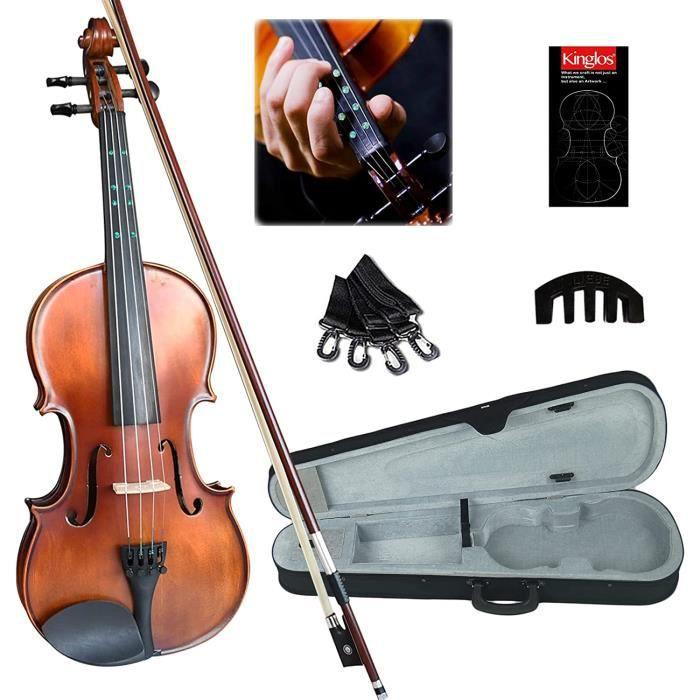 Kinglos 4-4 violon en bois massif conçu pour les débutants-étudiants avec étui, arc, manuel, sourdine et guide de doigt (taill A92