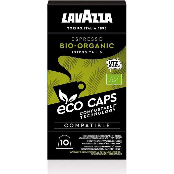 Lavazza Café Ecocaps Espresso Bio - 100 capsules (10 packs de 10) compatibles Nespresso