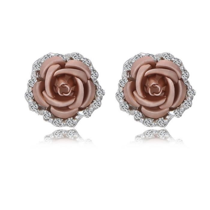 Champagne Gold -Boucles d'oreilles en forme de fleur de Rose pour femmes,bleu,noir,Bouquet rond en cristal,fleur de mariage,str