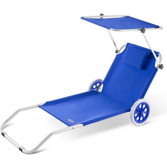Chaise longue en aluminium avec pare-soleil - Bleu
