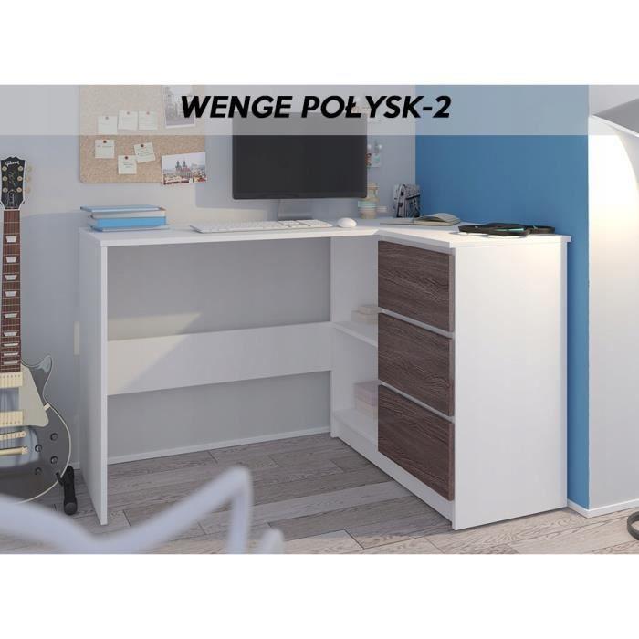REX B - Bureau d'angle avec rangements + 3 tiroirs - 112x87x76 cm - Table d'ordinateur - Blanc Wengé