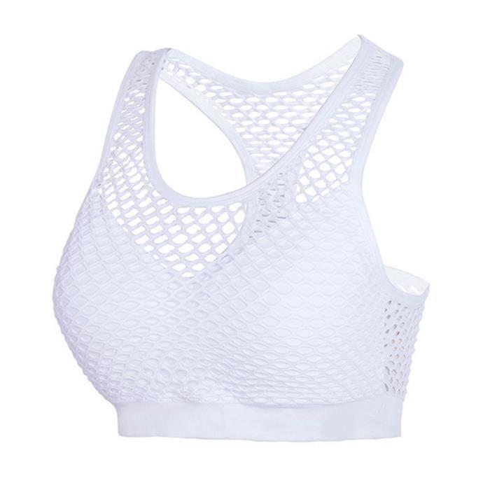 Femme Bras Yoga Courir Sexy Intime Gilet Dry Respirant Retour Fitness Lady Tops M blanc