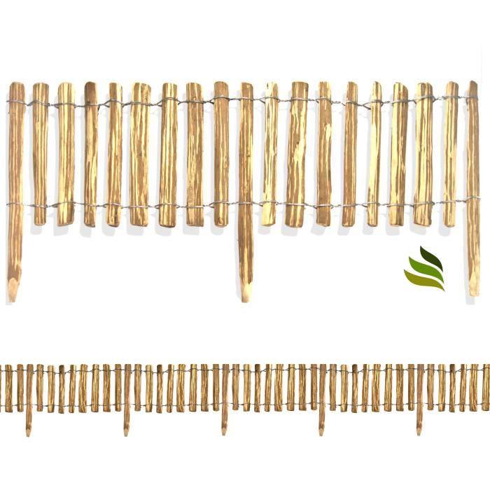 Floranica® Clôture bois de noisetier, piquets non requis, clôture déroulable imprégné, Ecart: 8-10 cm, Hauteur:35 cm/Longueur 1000cm