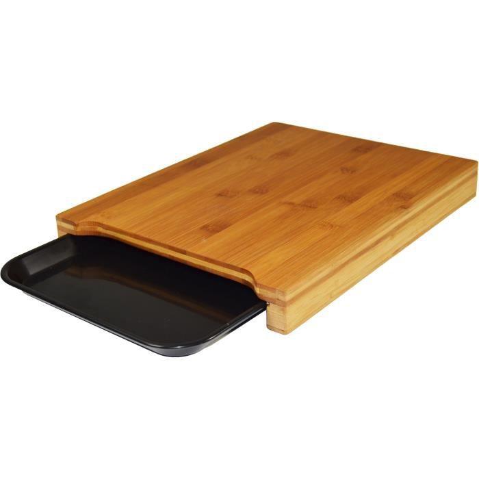 JOCCA Planche à découper bambou avec plateau 36x27,5x4 cm marron
